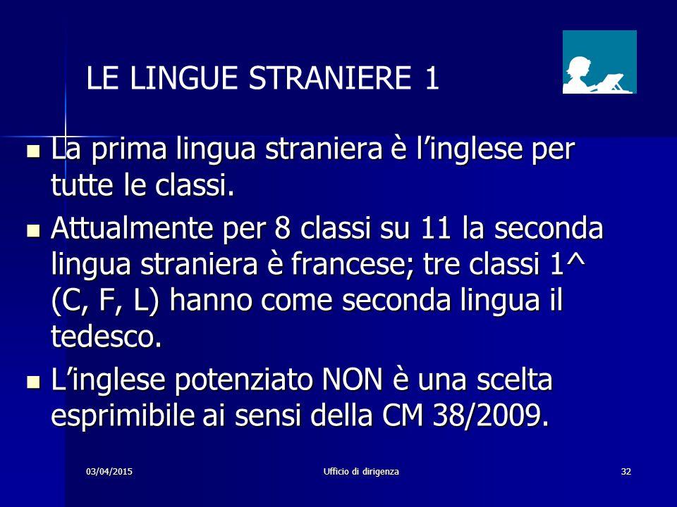 03/04/2015Ufficio di dirigenza32 LE LINGUE STRANIERE 1 La prima lingua straniera è l'inglese per tutte le classi. La prima lingua straniera è l'ingles