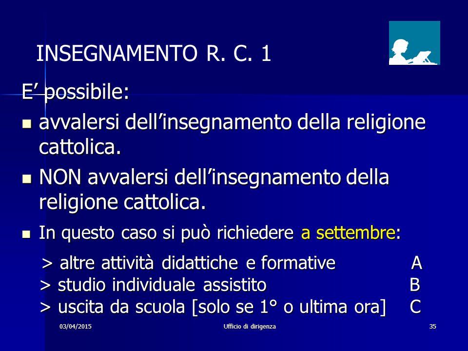 03/04/2015Ufficio di dirigenza35 INSEGNAMENTO R. C. 1 E' possibile: avvalersi dell'insegnamento della religione cattolica. avvalersi dell'insegnamento