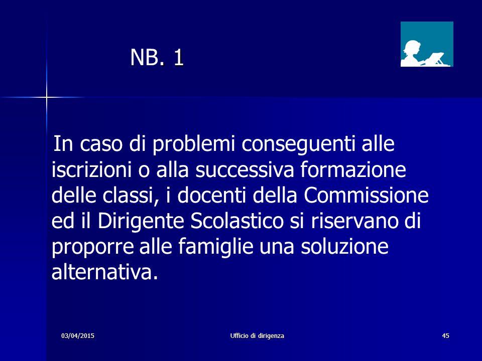 03/04/2015Ufficio di dirigenza45. 1 NB. 1 In caso di problemi conseguenti alle iscrizioni o alla successiva formazione delle classi, i docenti della C