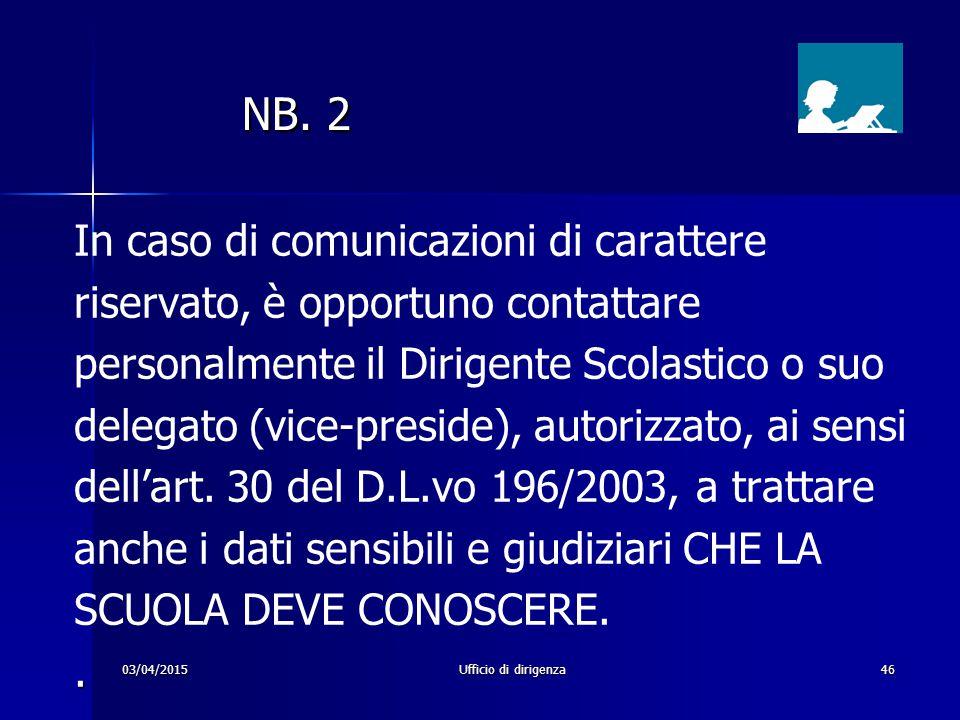 03/04/2015Ufficio di dirigenza46 NB. 2 NB. 2 In caso di comunicazioni di carattere riservato, è opportuno contattare personalmente il Dirigente Scolas
