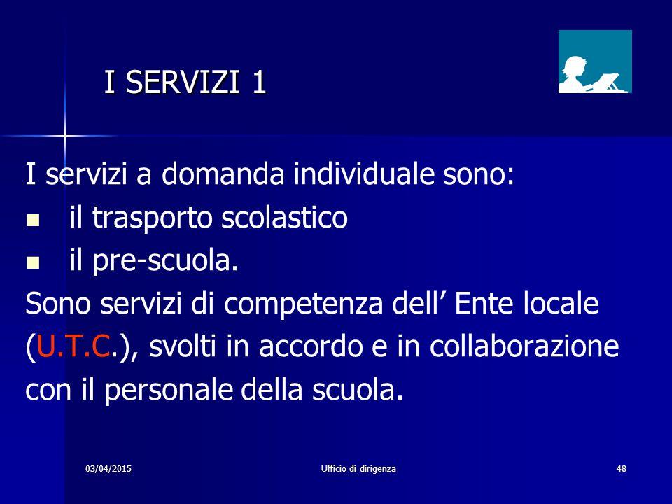 03/04/2015Ufficio di dirigenza48 I SERVIZI 1 I SERVIZI 1 I servizi a domanda individuale sono: il trasporto scolastico il pre-scuola. Sono servizi di
