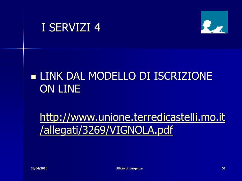 03/04/2015Ufficio di dirigenza51 I SERVIZI 4 I SERVIZI 4 LINK DAL MODELLO DI ISCRIZIONE ON LINE LINK DAL MODELLO DI ISCRIZIONE ON LINE http://www.unio