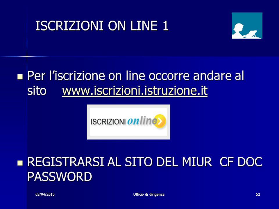 03/04/2015Ufficio di dirigenza52 ISCRIZIONI ON LINE 1 Per l'iscrizione on line occorre andare al sito www.iscrizioni.istruzione.it Per l'iscrizione on