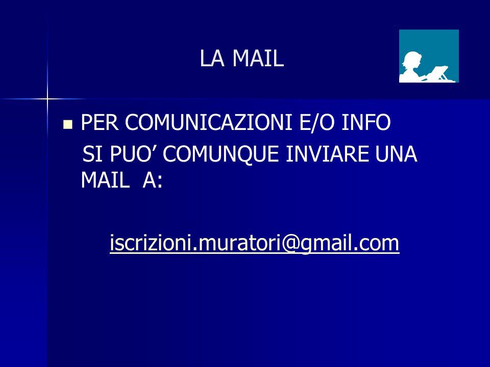 LA MAIL PER COMUNICAZIONI E/O INFO SI PUO' COMUNQUE INVIARE UNA MAIL A: iscrizioni.muratori@gmail.com