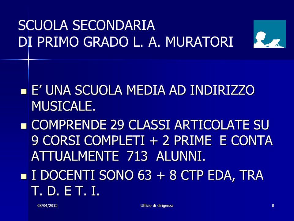 03/04/2015Ufficio di dirigenza8 SCUOLA SECONDARIA DI PRIMO GRADO L. A. MURATORI E' UNA SCUOLA MEDIA AD INDIRIZZO MUSICALE. E' UNA SCUOLA MEDIA AD INDI