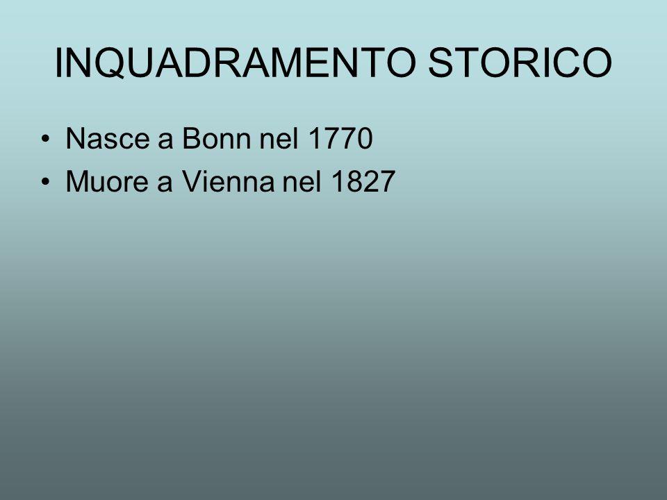 INQUADRAMENTO STORICO Nasce a Bonn nel 1770 Muore a Vienna nel 1827