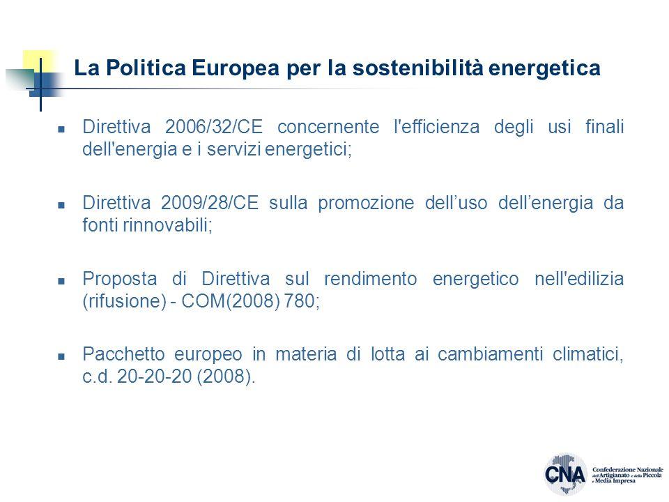 La Politica Europea per la sostenibilità energetica Direttiva 2006/32/CE concernente l efficienza degli usi finali dell energia e i servizi energetici; Direttiva 2009/28/CE sulla promozione dell'uso dell'energia da fonti rinnovabili; Proposta di Direttiva sul rendimento energetico nell edilizia (rifusione) - COM(2008) 780; Pacchetto europeo in materia di lotta ai cambiamenti climatici, c.d.