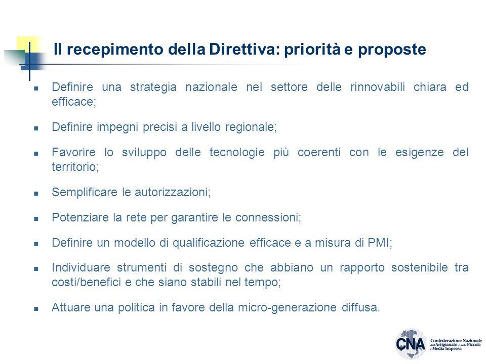 Il recepimento della Direttiva: priorità e proposte Definire una strategia nazionale nel settore delle rinnovabili chiara ed efficace; Definire impegni precisi a livello regionale; Favorire lo sviluppo delle tecnologie più coerenti con le esigenze del territorio; Semplificare le autorizzazioni; Potenziare la rete per garantire le connessioni; Definire un modello di qualificazione efficace e a misura di PMI; Individuare strumenti di sostegno che abbiano un rapporto sostenibile tra costi/benefici e che siano stabili nel tempo; Attuare una politica in favore della micro-generazione diffusa.