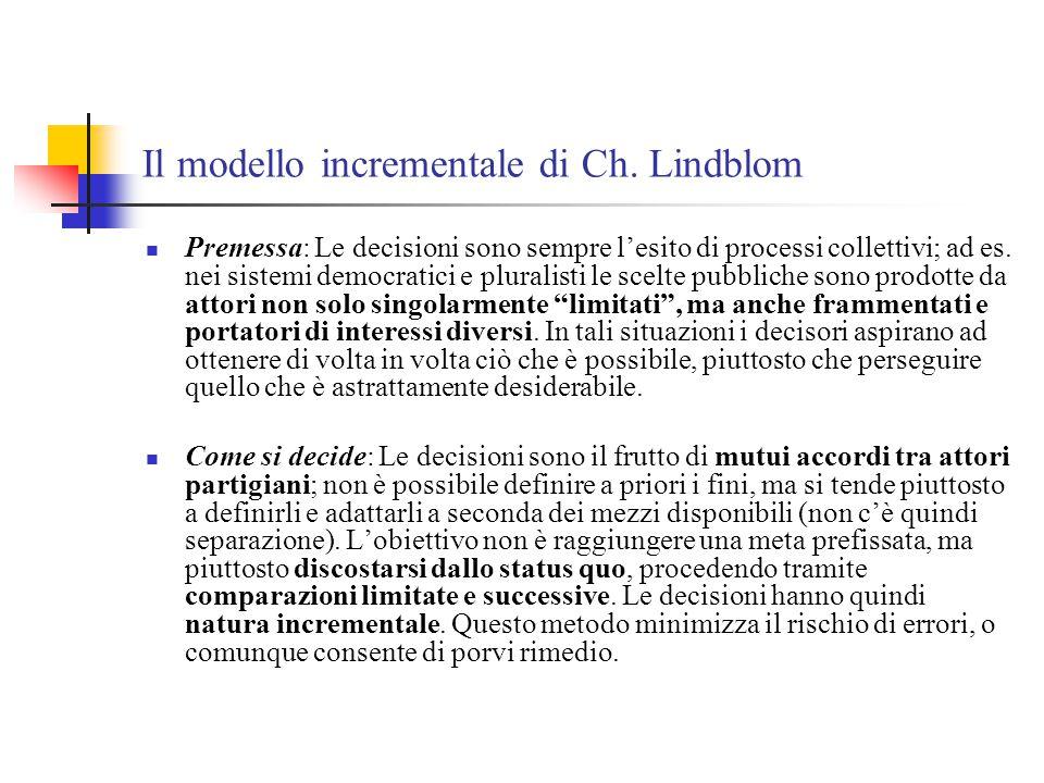 Il modello incrementale di Ch. Lindblom Premessa: Le decisioni sono sempre l'esito di processi collettivi; ad es. nei sistemi democratici e pluralisti