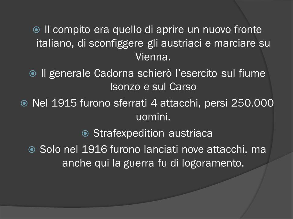  Il compito era quello di aprire un nuovo fronte italiano, di sconfiggere gli austriaci e marciare su Vienna.  Il generale Cadorna schierò l'esercit