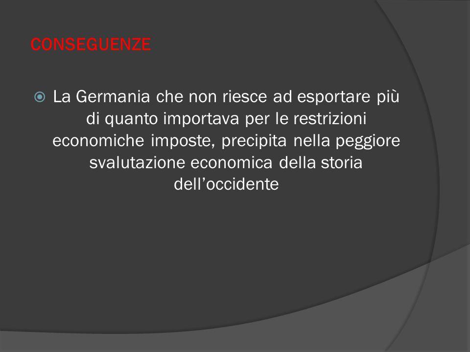 CONSEGUENZE  La Germania che non riesce ad esportare più di quanto importava per le restrizioni economiche imposte, precipita nella peggiore svalutazione economica della storia dell'occidente