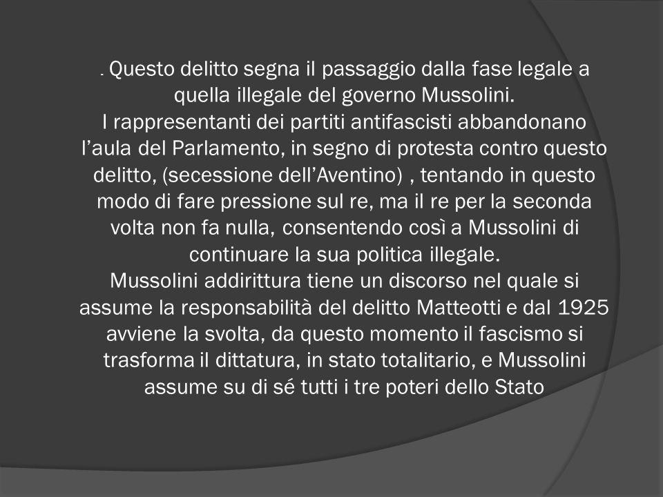 . Questo delitto segna il passaggio dalla fase legale a quella illegale del governo Mussolini. I rappresentanti dei partiti antifascisti abbandonano l