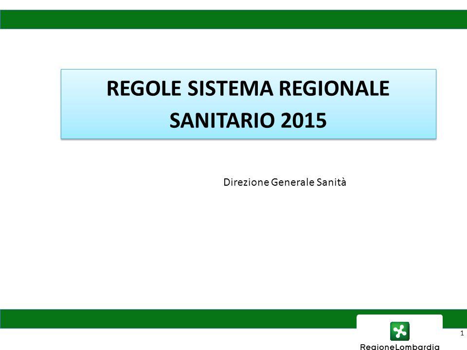 REGOLE SISTEMA REGIONALE SANITARIO 2015 1 Direzione Generale Sanità