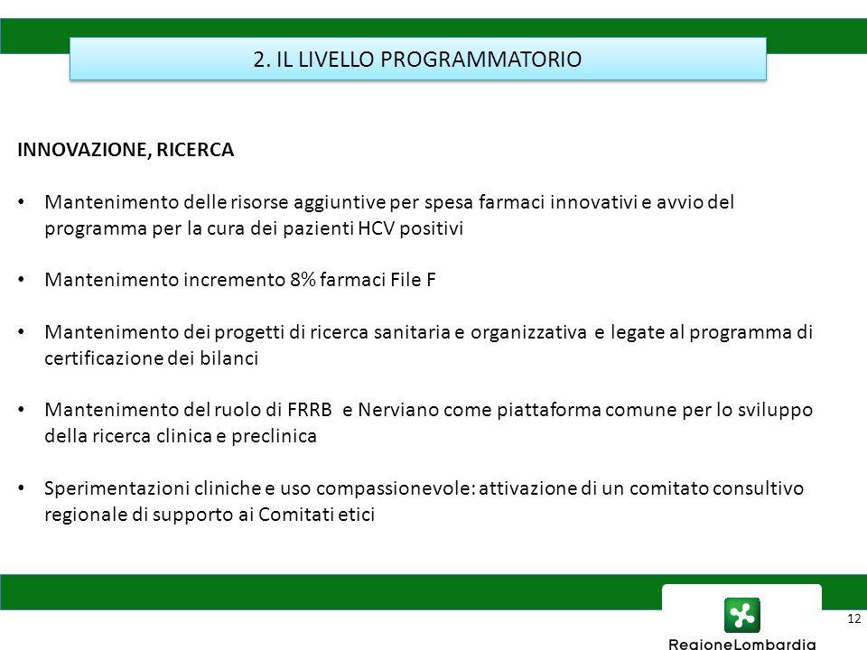 12 2. IL LIVELLO PROGRAMMATORIO INNOVAZIONE, RICERCA Mantenimento delle risorse aggiuntive per spesa farmaci innovativi e avvio del programma per la c