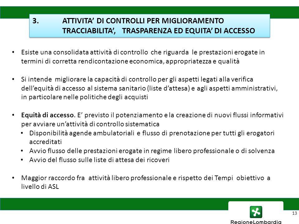 13 Esiste una consolidata attività di controllo che riguarda le prestazioni erogate in termini di corretta rendicontazione economica, appropriatezza e