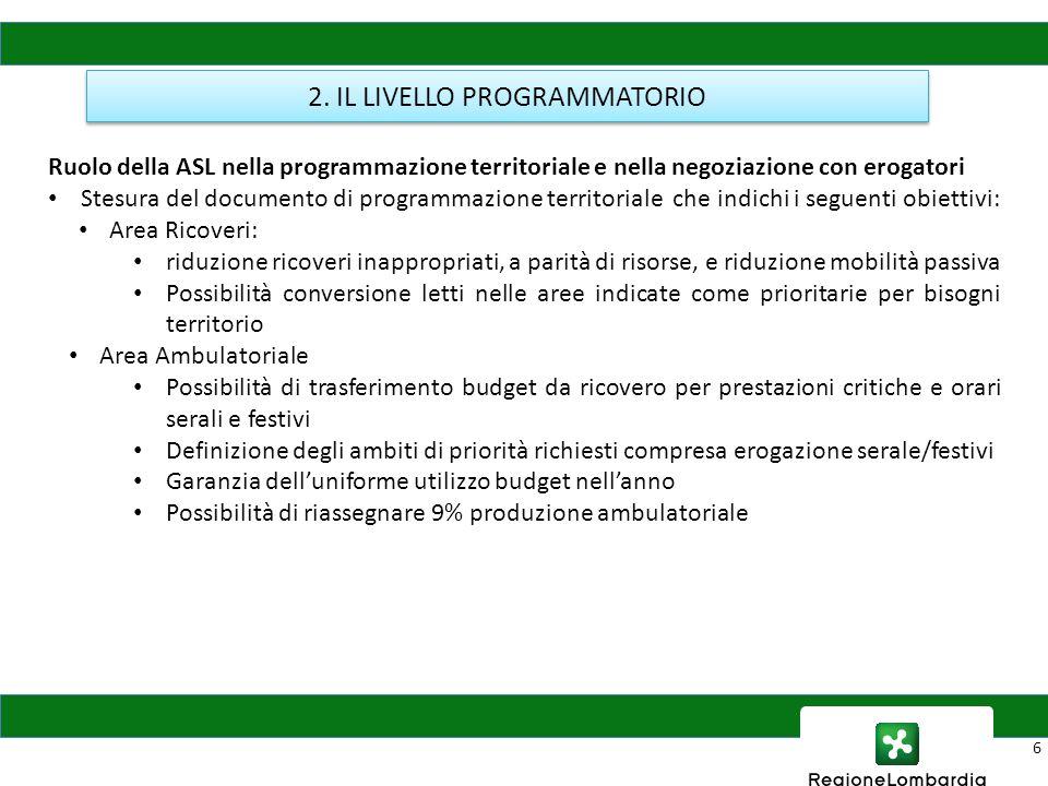6 2. IL LIVELLO PROGRAMMATORIO Ruolo della ASL nella programmazione territoriale e nella negoziazione con erogatori Stesura del documento di programma