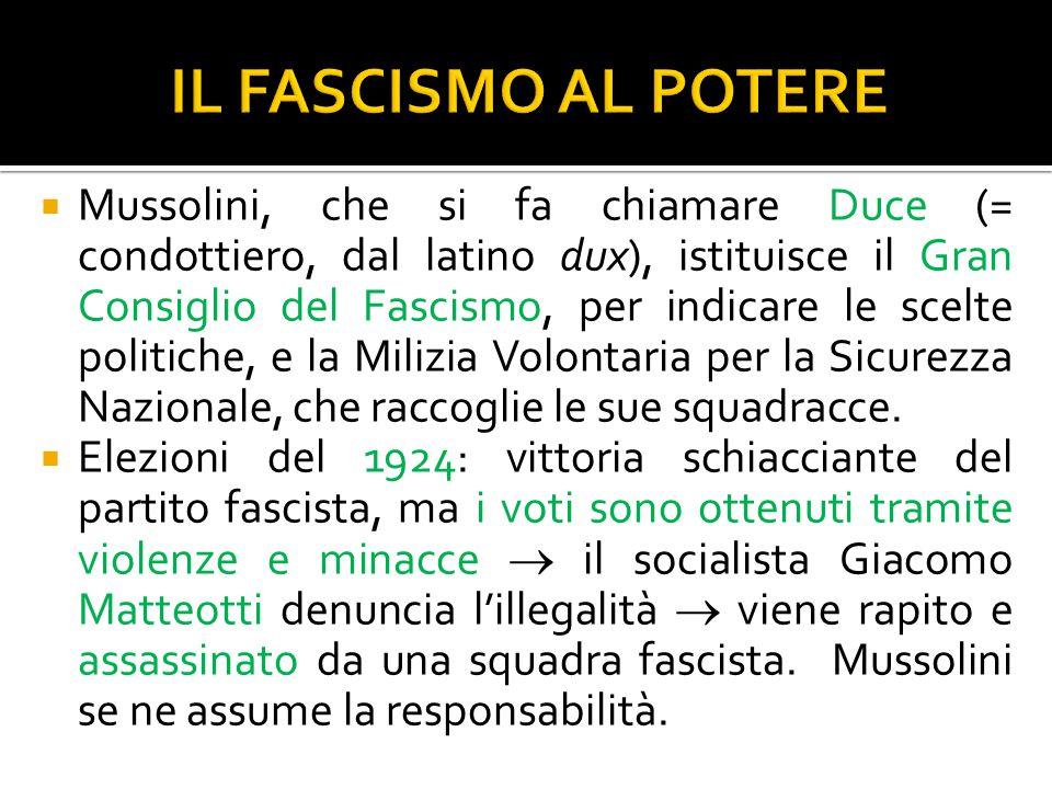 Mussolini, che si fa chiamare Duce (= condottiero, dal latino dux), istituisce il Gran Consiglio del Fascismo, per indicare le scelte politiche, e l