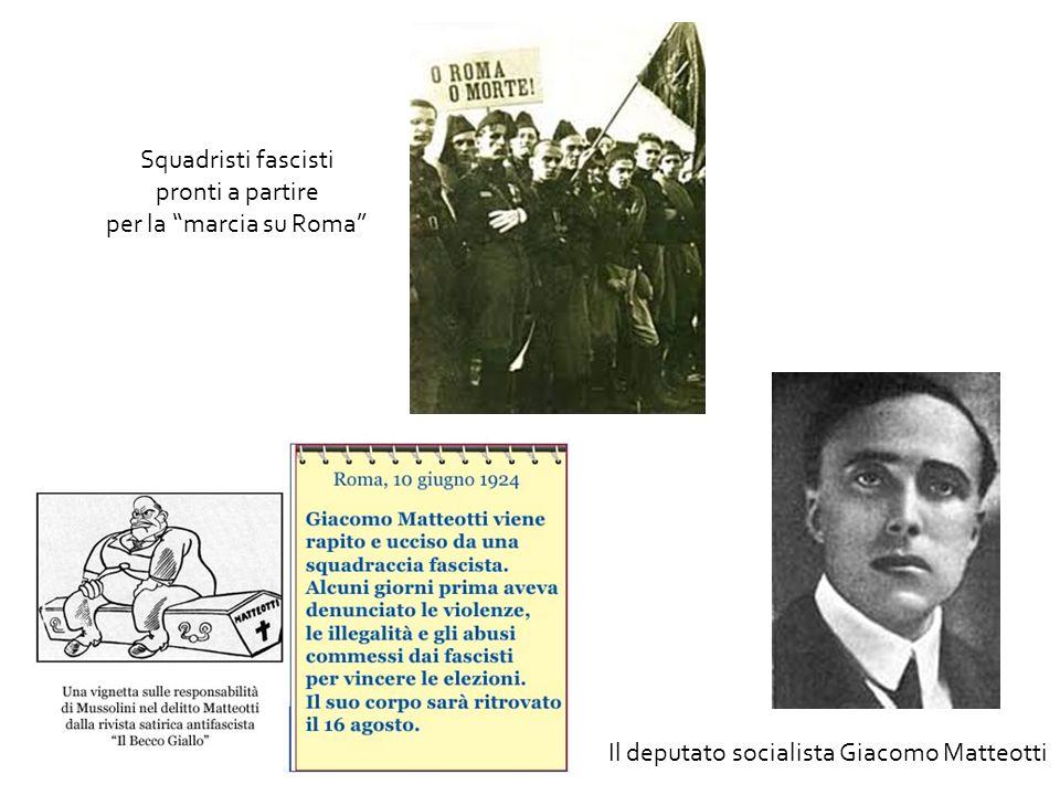"""Il deputato socialista Giacomo Matteotti Squadristi fascisti pronti a partire per la """"marcia su Roma"""""""