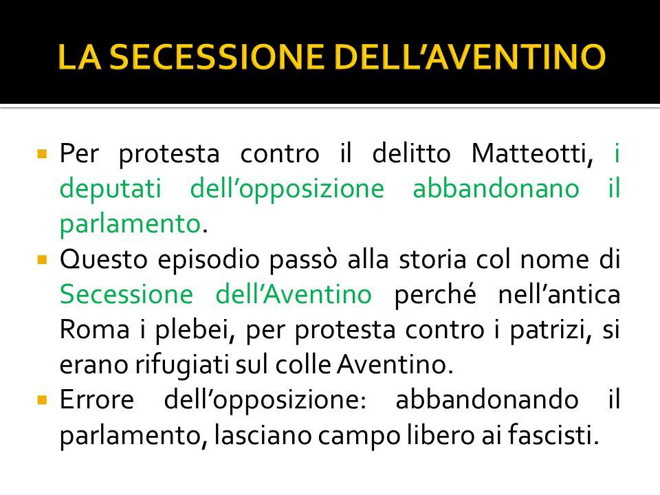  Per protesta contro il delitto Matteotti, i deputati dell'opposizione abbandonano il parlamento.  Questo episodio passò alla storia col nome di Sec