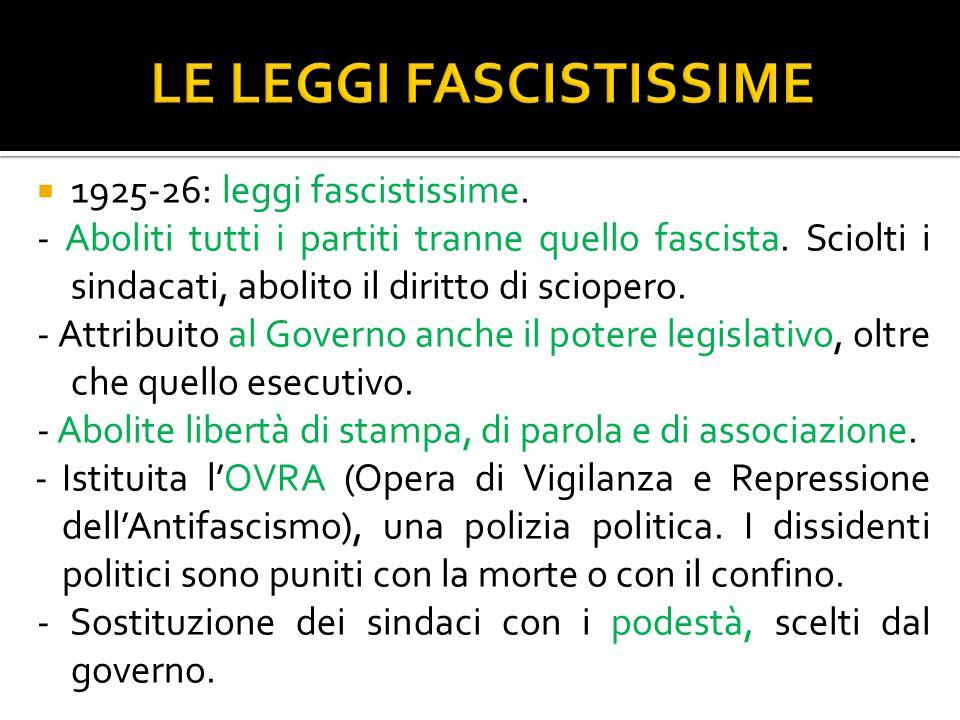  1925-26: leggi fascistissime. - Aboliti tutti i partiti tranne quello fascista. Sciolti i sindacati, abolito il diritto di sciopero. - Attribuito al