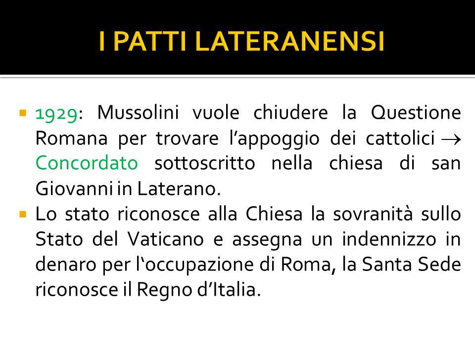  1929: Mussolini vuole chiudere la Questione Romana per trovare l'appoggio dei cattolici  Concordato sottoscritto nella chiesa di san Giovanni in L