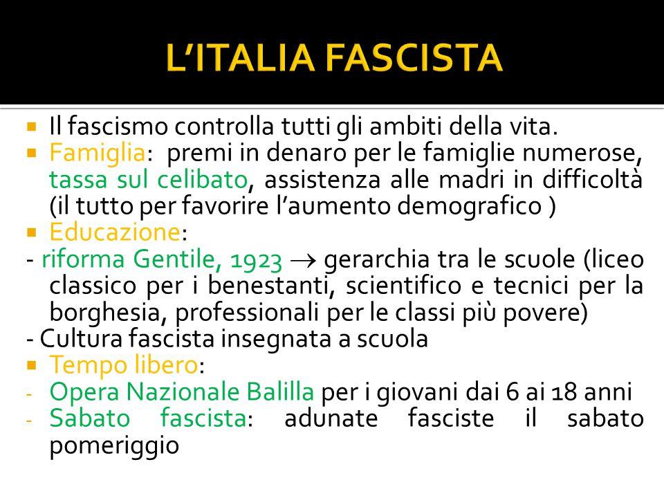  Il fascismo controlla tutti gli ambiti della vita.  Famiglia: premi in denaro per le famiglie numerose, tassa sul celibato, assistenza alle madri i
