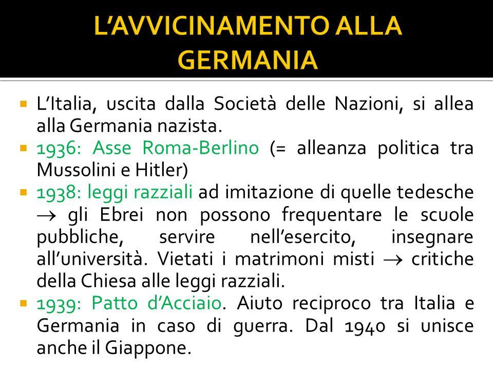  L'Italia, uscita dalla Società delle Nazioni, si allea alla Germania nazista.  1936: Asse Roma-Berlino (= alleanza politica tra Mussolini e Hitler)