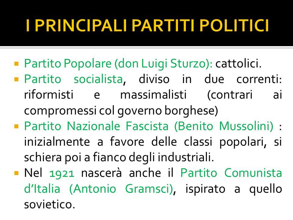  Partito Popolare (don Luigi Sturzo): cattolici.  Partito socialista, diviso in due correnti: riformisti e massimalisti (contrari ai compromessi col