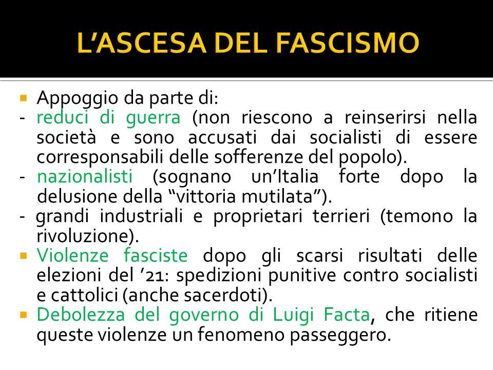 LO SQUADRISMO FASCISTA Le squadre d'azione (o squadracce) furono la forma organizzativa creata da Mussolini prima di fondare un vero e proprio partito, che nel 1921 prese il nome di Partito Nazionale Fascista.