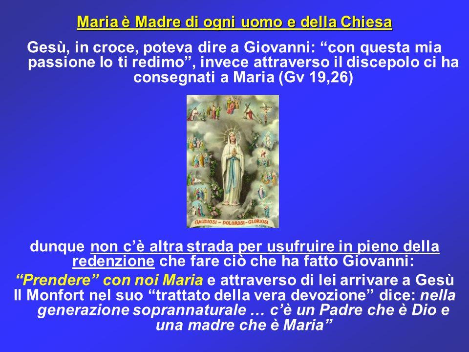 """Maria è Madre di ogni uomo e della Chiesa Gesù, in croce, poteva dire a Giovanni: """"con questa mia passione Io ti redimo"""", invece attraverso il discepo"""