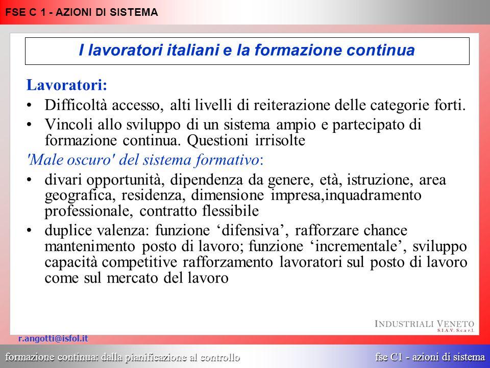 formazione continua: dalla pianificazione al controllo fse C1 - azioni di sistema FSE C 1 - AZIONI DI SISTEMA r.angotti@isfol.it I lavoratori italiani e la formazione continua due 10% tre 7% oltre 3 4% Nessuno 68% uno 11% Lavoratori dipendenti di imprese private in Italia: N.