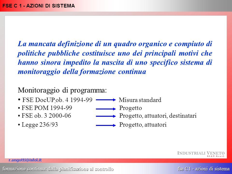 formazione continua: dalla pianificazione al controllo fse C1 - azioni di sistema FSE C 1 - AZIONI DI SISTEMA r.angotti@isfol.it I comportamenti formativi dei lavoratori adulti in Italia