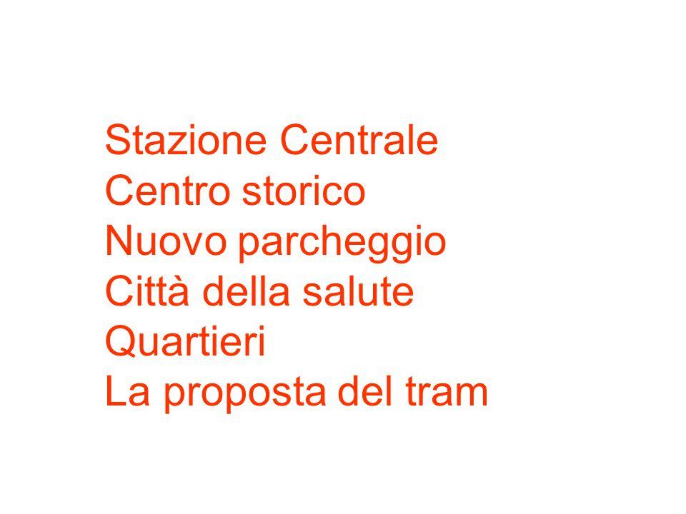 1. Stazione Centrale Centro storico Nuovo parcheggio Città della salute Quartieri La proposta del tram