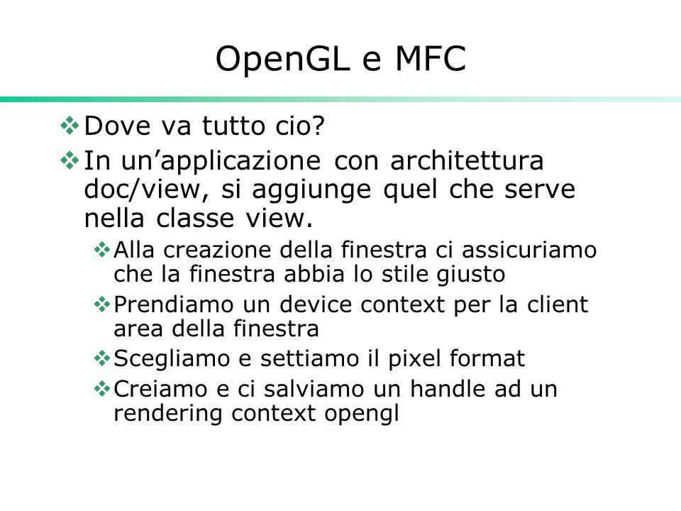 OpenGL e MFC  Dove va tutto cio.