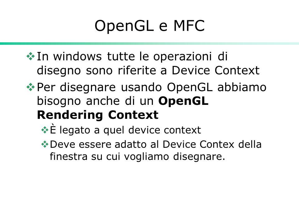 OpenGL e MFC  In windows tutte le operazioni di disegno sono riferite a Device Context  Per disegnare usando OpenGL abbiamo bisogno anche di un OpenGL Rendering Context  È legato a quel device context  Deve essere adatto al Device Contex della finestra su cui vogliamo disegnare.