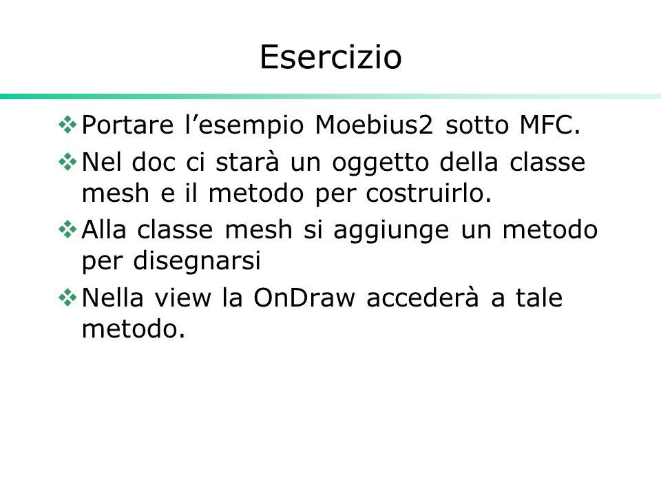 Esercizio  Portare l'esempio Moebius2 sotto MFC.