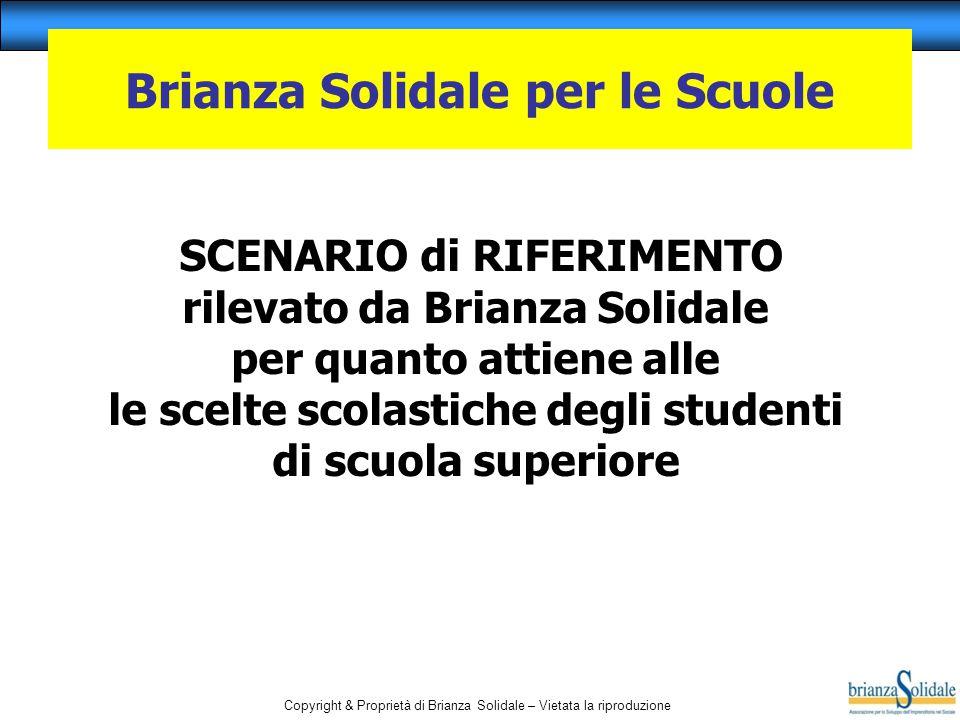 Copyright & Proprietà di Brianza Solidale – Vietata la riproduzione SCENARIO di RIFERIMENTO rilevato da Brianza Solidale per quanto attiene alle le sc