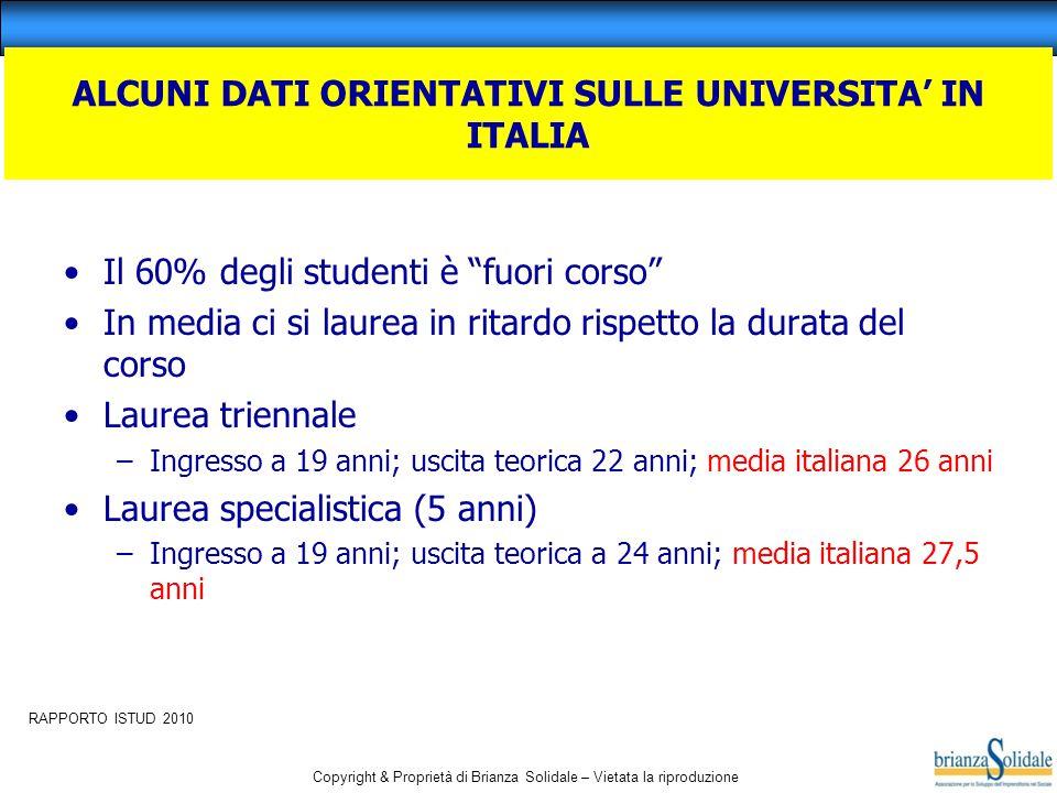 """Copyright & Proprietà di Brianza Solidale – Vietata la riproduzione ALCUNI DATI ORIENTATIVI SULLE UNIVERSITA' IN ITALIA Il 60% degli studenti è """"fuori"""