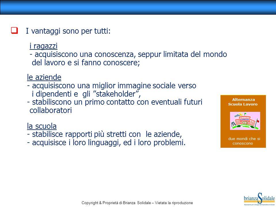 Copyright & Proprietà di Brianza Solidale – Vietata la riproduzione  I vantaggi sono per tutti: i ragazzi - acquisiscono una conoscenza, seppur limit