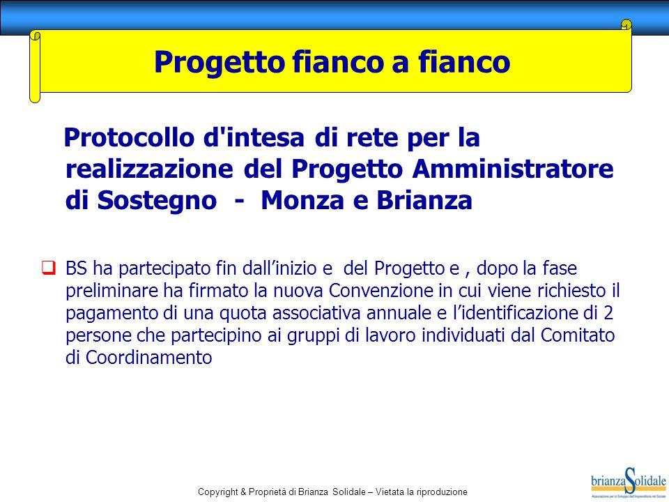 Copyright & Proprietà di Brianza Solidale – Vietata la riproduzione Protocollo d'intesa di rete per la realizzazione del Progetto Amministratore di So