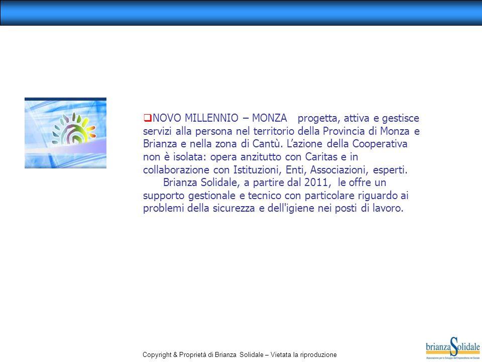 Copyright & Proprietà di Brianza Solidale – Vietata la riproduzione  NOVO MILLENNIO – MONZA progetta, attiva e gestisce servizi alla persona nel terr