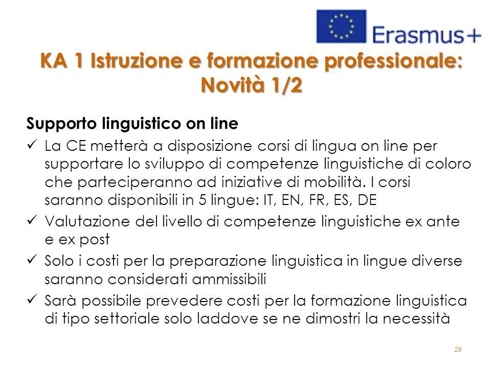 28 KA 1 Istruzione e formazione professionale: Novità 1/2 Supporto linguistico on line La CE metterà a disposizione corsi di lingua on line per supportare lo sviluppo di competenze linguistiche di coloro che parteciperanno ad iniziative di mobilità.