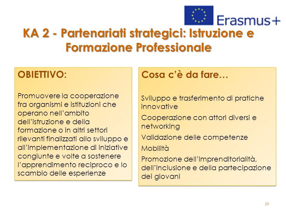 39 KA 2 - Partenariati strategici: Istruzione e Formazione Professionale OBIETTIVO: Promuovere la cooperazione fra organismi e istituzioni che operano nell'ambito dell'istruzione e della formazione o in altri settori rilevanti finalizzati allo sviluppo e all'implementazione di iniziative congiunte e volte a sostenere l'apprendimento reciproco e lo scambio delle esperienze OBIETTIVO: Promuovere la cooperazione fra organismi e istituzioni che operano nell'ambito dell'istruzione e della formazione o in altri settori rilevanti finalizzati allo sviluppo e all'implementazione di iniziative congiunte e volte a sostenere l'apprendimento reciproco e lo scambio delle esperienze Cosa c'è da fare… Sviluppo e trasferimento di pratiche innovative Cooperazione con attori diversi e networking Validazione delle competenze Mobilità Promozione dell'imprenditorialità, dell'inclusione e della partecipazione dei giovani Cosa c'è da fare… Sviluppo e trasferimento di pratiche innovative Cooperazione con attori diversi e networking Validazione delle competenze Mobilità Promozione dell'imprenditorialità, dell'inclusione e della partecipazione dei giovani