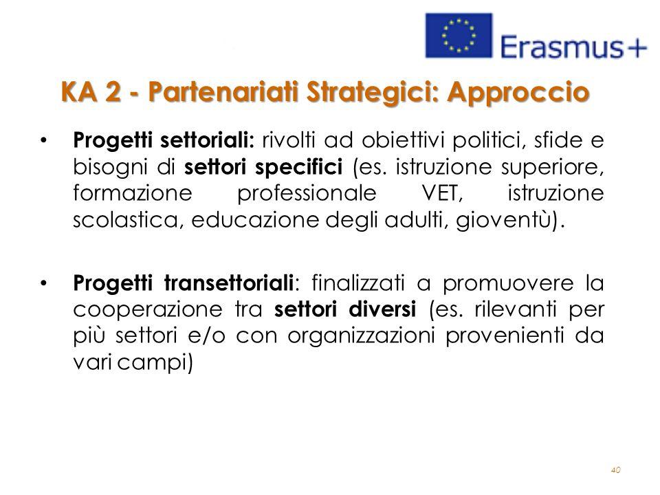 40 Progetti settoriali: rivolti ad obiettivi politici, sfide e bisogni di settori specifici (es.