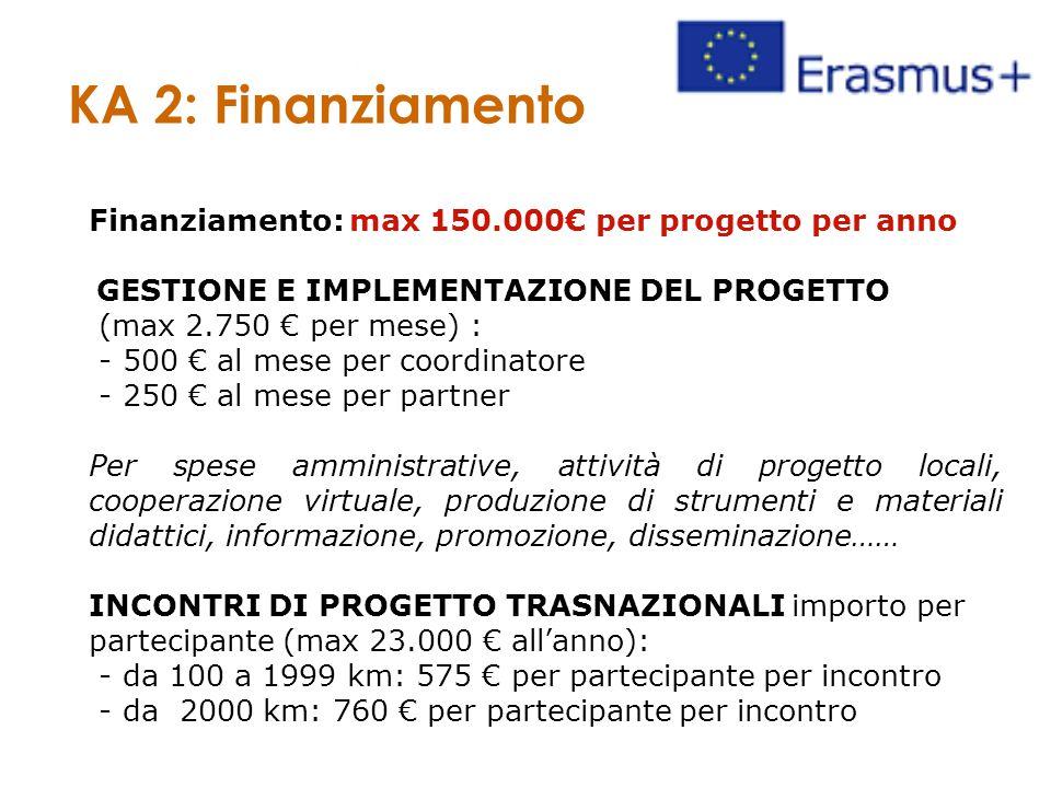 Finanziamento: max 150.000€ per progetto per anno GESTIONE E IMPLEMENTAZIONE DEL PROGETTO (max 2.750 € per mese) : - 500 € al mese per coordinatore - 250 € al mese per partner Per spese amministrative, attività di progetto locali, cooperazione virtuale, produzione di strumenti e materiali didattici, informazione, promozione, disseminazione…… INCONTRI DI PROGETTO TRASNAZIONALI importo per partecipante (max 23.000 € all'anno): - da 100 a 1999 km: 575 € per partecipante per incontro - da 2000 km: 760 € per partecipante per incontro KA 2: Finanziamento