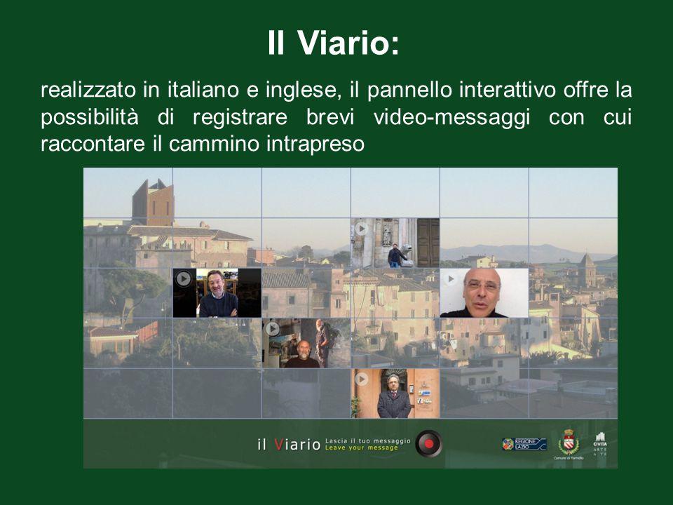 Il Viario: realizzato in italiano e inglese, il pannello interattivo offre la possibilità di registrare brevi video-messaggi con cui raccontare il cam