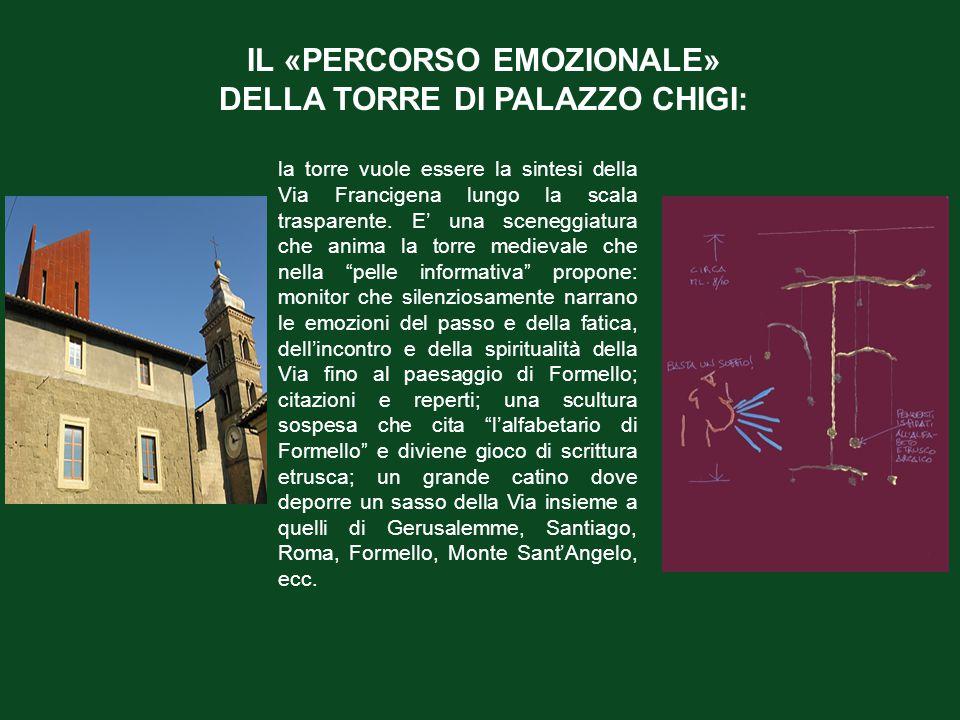 IL «PERCORSO EMOZIONALE» DELLA TORRE DI PALAZZO CHIGI: la torre vuole essere la sintesi della Via Francigena lungo la scala trasparente. E' una sceneg