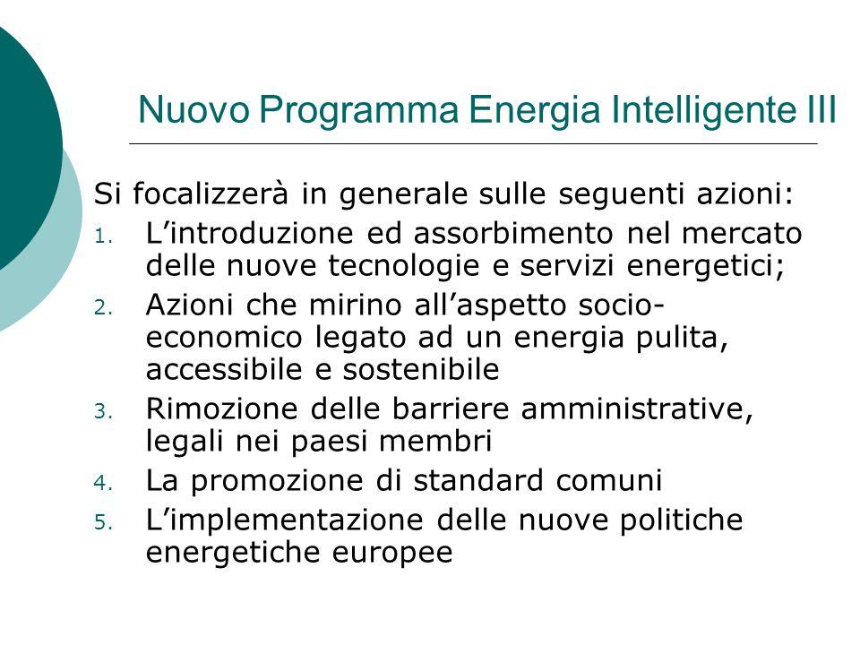 Nuovo Programma Energia Intelligente III Si focalizzerà in generale sulle seguenti azioni: 1.