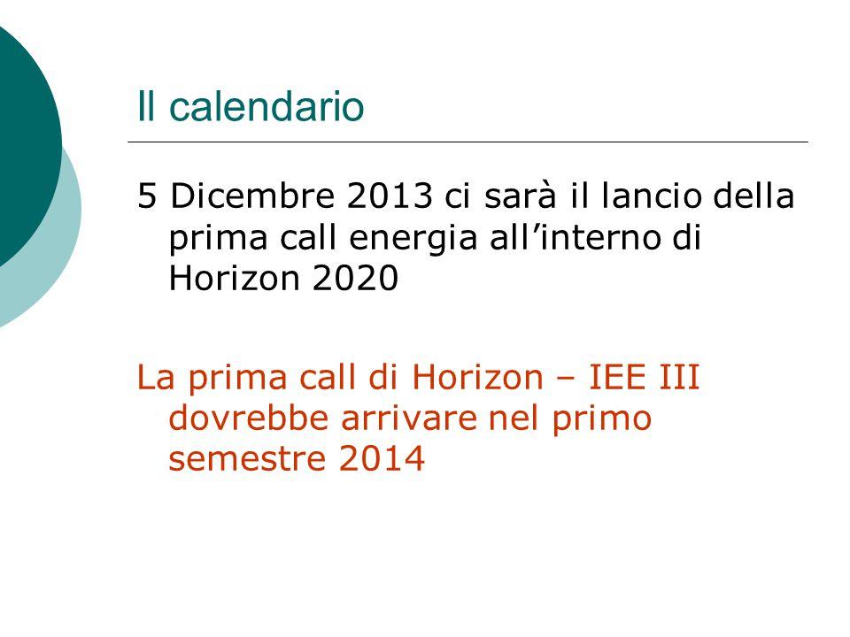 Il calendario 5 Dicembre 2013 ci sarà il lancio della prima call energia all'interno di Horizon 2020 La prima call di Horizon – IEE III dovrebbe arrivare nel primo semestre 2014