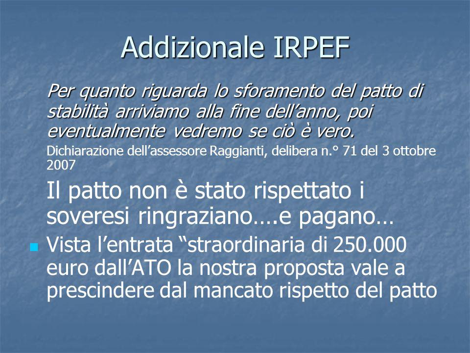 Addizionale IRPEF Per quanto riguarda lo sforamento del patto di stabilità arriviamo alla fine dell'anno, poi eventualmente vedremo se ciò è vero.